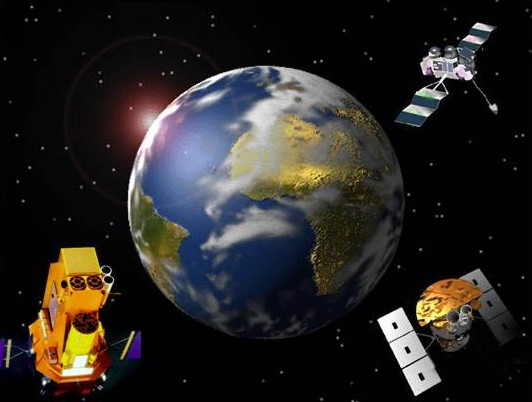 Satellites in orbit around Earth